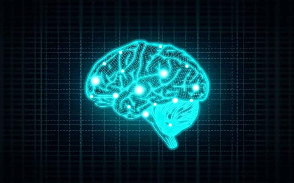 Concept of Intelligence with Human Brain on Blue Background